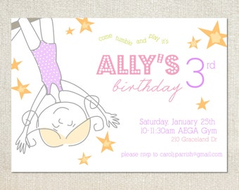 Gymnastics birthday party invitations