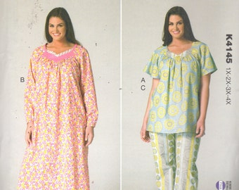 Kwik Sew 4145  Womens Pullover Top NIGHTGOWN and Pants Pattern Shaped Neckline Plus Size Sewing Pattern Size 1X 2X 3X 4X  Bust 45 - 57 UNCUT