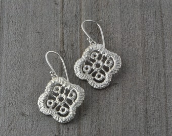 Sterling Silver Earrings, Lace inspired