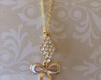 Bow Necklace - Bow Jewelry - Ribbon Necklace - Dainty Necklace - Dainty Jewelry - Gold Bow Necklace - Wedding Jewelry - Wedding Necklace