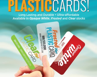 """100 - 2""""x3.5"""" Plastic Cards - Custom Design & Printing - White, Frosted, Clear"""