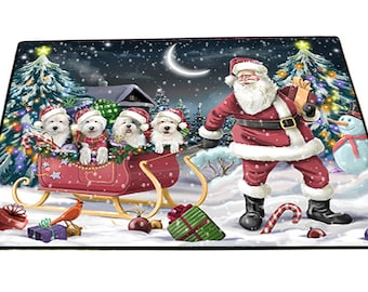 "Merry Christmas Happy Holiday Santa Sled Old English Sheepdog Dog Indoor/Outdoor Floormat 18x24"""