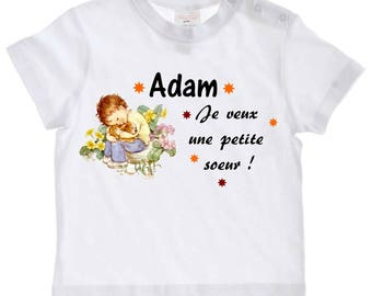 tee shirt baby I want a little sister personalized with name