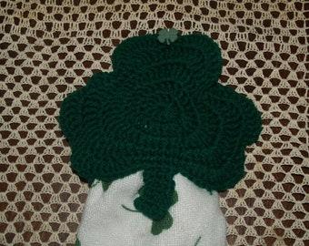 Crochet St Patricks Day Shamrock Towel Topper Pattern
