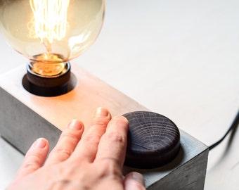concrete edison DIMMER lamp BLOCK#154 handmade. dimmer lamp. concrete lamp base. dimmer edison lamp. dimmer concrete lamp. desk lamp