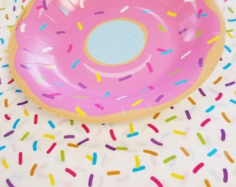 """Sale 1 SPRINKLES TABLECLOTH Plastic Tablecloths Donut Ice Cream Birthday Party Tableware Rainbow Sprinkle Fun Sweets Cake Chic Cute 54x108"""""""