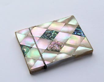 Antique Mother of Pearl and Abalone Card Case c1910