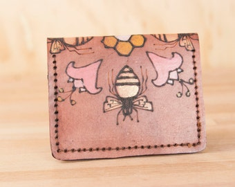 Front Pocket Wallet - Leather Minimalist Wallet in the Meadow Pattern with Bees and Flowers - Handmade Leather Wallet for men or women