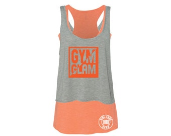 Fitness workout tank top, Gray/orange, tank top, double layered