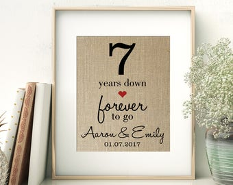 7 Years Down - Forever to Go | 7th Seventh Wedding Anniversary Personalized Burlap Print | Gift for Wife Husband | Personalize for ANY Year