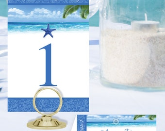 Beach Table Numbers and Place Cards BCH-09-Digital Download