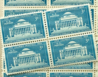 Vintage Columbia University Postage Stamps / 16 Unused / Blue Columbia University US Postage Stamp / 3 cents 1961 Scott 1029