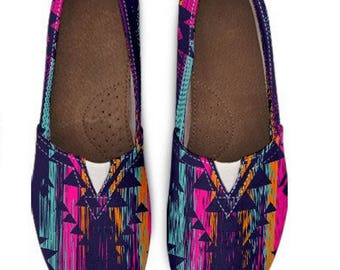 Aztec Pattern Shoes, Toms Style Shoes Women, Toms Shoes, Comfy Flats, Casual Toms Shoes, Tribal Pattern Shoes