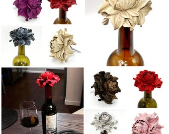 Unique Wine Lovers Gifts! Custom Wine Bottle Stoppers - Leather Rose Wine Gift|Bridal Shower Gifts|Metal Wine Corks|Bridal Shower Gift Ideas