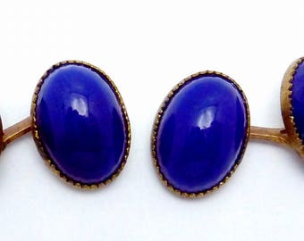 Antique Victorian Blue Glass Gold Filled Double Cufflinks 23486