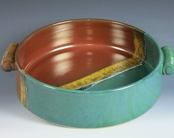 2 quart casserole,ceramic baking dish,serving bowl,baking dish,open casserole,ceramic casserole,oven baking dish, pottery,,handmade