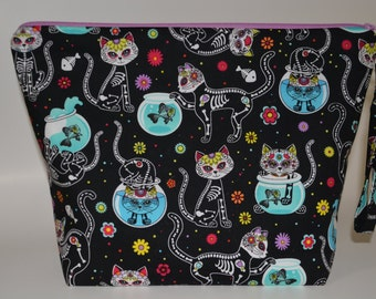Skeleton Kitty project bag