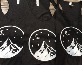 Mountain Tank, Racerback Tank Top, Screen printed t-shirt, Moon and Stars Tank