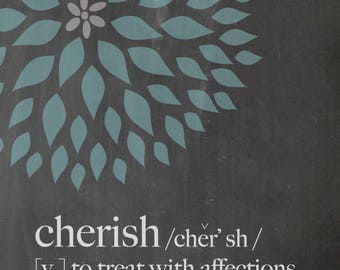 cherish . definition . frameable print with dahilia