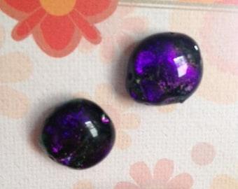 Purple dichroic post earrings, one of a kind, purple earrings