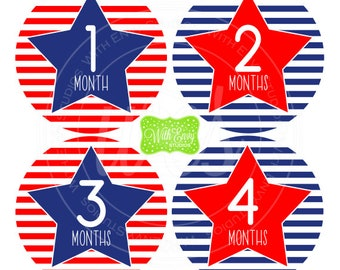 Stars and Stripes Baby Monthly Stickers - Baby Bodysuit Stickers - Monthly Baby Stickers -  Neutral Baby Stickers - Milestone Stickers - 045
