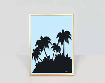 Tropical palm trees print-palm tree print-ocean wall art-seaside print-coastal decor-coastal print-beach decor-nautical print- NATURA PICTA