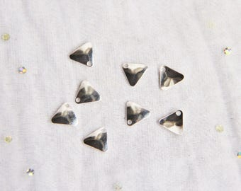 Set of 4 charms curved triangles smooth 8mm Sterling Silver 925 / 1000, charm, pendant, DIY jewelry, Myo