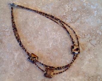 Animal print seed bead necklace