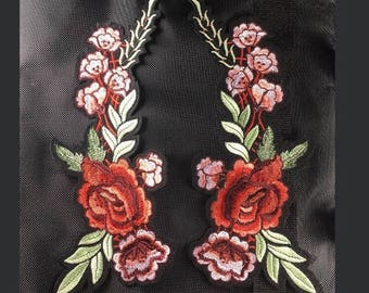 rose patch flower patch mirror flower applique back patch large patch erbroidered patch iron on patches iron on patch sew on patch