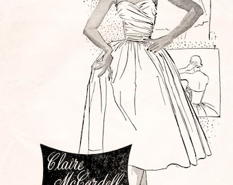 1950s 50s party dress pattern with bolero ruched bodice full skirt PICK YOUR SIZE Bust 30 32 34 36 38 vintage sewing repro