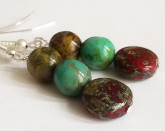Czech Glass Picasso Earrings - Beaded Earrings - Boho Earrings - Silver Plated Earrings - Green Turquoise Red - Multi Colour Earrings