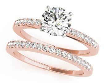 Classic Petite Diamond Engagement Ring & Wedding Band Bridal Set, Rose Gold