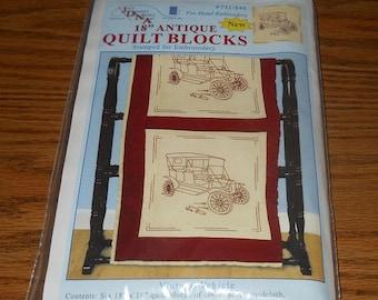 "20% Off Jack Dempsey Needle Art Kit~18"" Quilt Blocks~Vintage Vehicle Design~#731 Pattern 546"