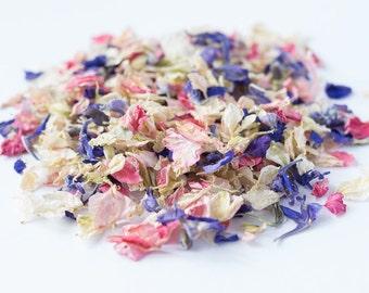 One Litre - Delphinium Wedding Confetti - Natural & Biodegradable - Kaleidoscope