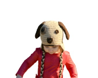 Crochet Dog Hat, Toddler Puppy Hat, Kids Animal Hat, Brown Dog, Newborn Photo Prop, Girls Puppy Ear Hat, Boys Crochet Hat, Crochet Baby Hat