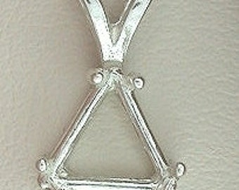 sterling silver 5mm trilliant  pendant mounting setting