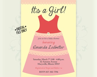 Girl Baby Shower Invitation, Feminine, Pink, Simple, Minimal, Dress, Grey, Yellow, *digital file*