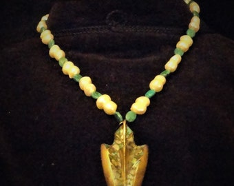 Unique pearls and turquoise necklace with bronze arrow pendant  inlaid with turquoise chips.48/50cms.