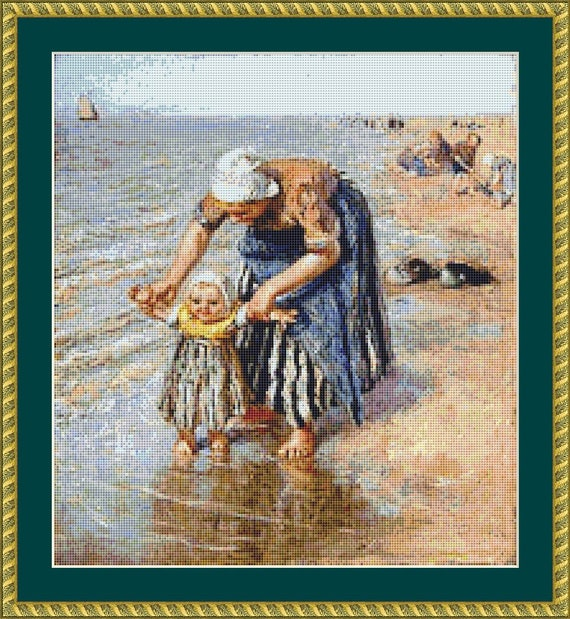 First Steps In The Surf Cross Stitch Pattern /Digital PDF Files /Instant downloadable
