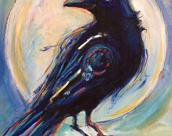 """Crow PRINT of my original painting  The Crow, titled """"the Messenger""""  11x14 inches (28x36 cm)"""