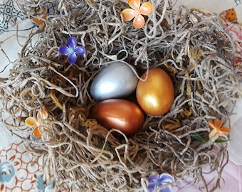 Birds nest with metallic eggs, Easter egg, metallic eggs, decor nest, craft nest, rustic, shabby chic charm