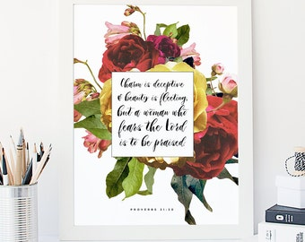 Proverbs 31:30 Printable, Bible Verse Art, Scripture Print, Typography Wall Quote, Instant Download, Art Print, Nursery Printable