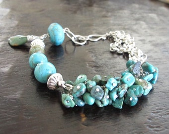 Turquoise. Gemstone. Sterling Silver. Chunky. Wire Wrapped. Blue. Gift. Anniversary. Birthday. Cluster