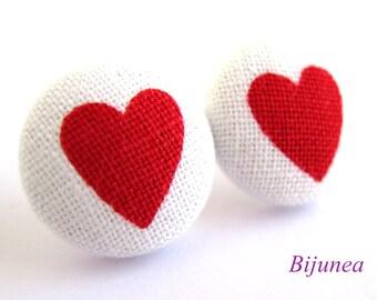 Heart earrings - Red heart earrings - Heart stud earrings - Heart studs - Heart post earrings - Heart posts sf997