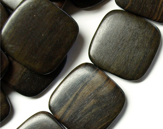 WDSQ-35TE - Wood Bead, Flat Square 35mm, Tiger Ebony - 16 Inch Strand