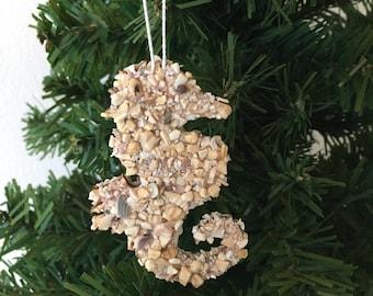 Seahorse Ornament / Crushed Seashells / Hostess Gift / Christmas Tree Ornament