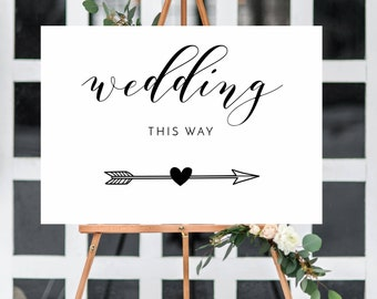 Arrow, Wedding this way white poster/sign A3/A2/A1 -Unframed - FREE POSTAGE/easel NOT included