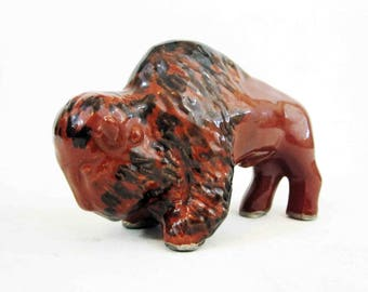 Vintage Pottery Buffalo Glazed in Brown and Black. Circa 1950's - 1960's.