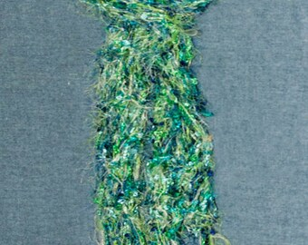 Women's Scarf, Hand Knit Lacy Green and Blue