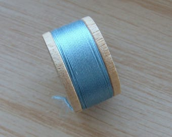 Vintage Pure Silk Buttonhole Twist Thread Spool 10 yards Size D Blue Shade 6343
